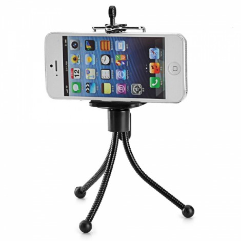 Universal Mini Rotatable Adjustable PP + Stainless Steel Tripod Holder Stand for Camera/Mobile Phone/Projector Black