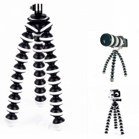 2-in-1 Large Octopus Tripod Mount + Adapter for Digital Camera/Cellphone/GoPro Hero 3/3 + Black & White