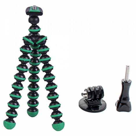 "6.5"" Mini Octopus Tripod + Adapter + Long Screw Set for Camera/Cellphone/GoPro Hero Series/SJ5000 Black & Green"
