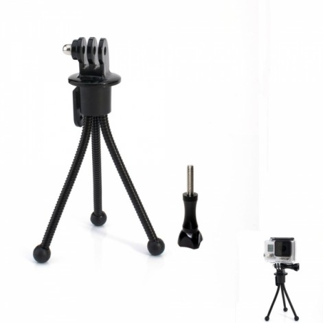 JUSTONE J021 Mini Metal Tripod Stand Holder for Camera/GoPro Hero 4/3 +/3/2/1/SJ4000 Black