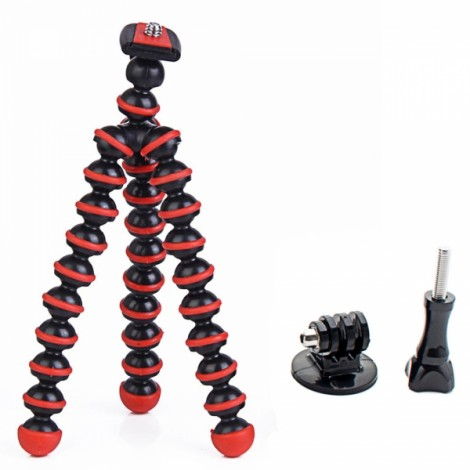 "6.5"" Mini Octopus Tripod + Adapter + Long Screw Set for Camera/Cellphone/GoPro Hero Series/SJ5000/SJ4000 Black & Red"