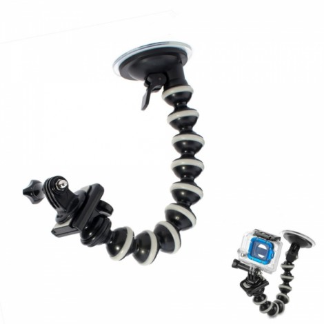 """10"""" Octopus Car Suction Cup Mount Holder + Adapter + Long Screw Set for GPS/Camera/Mic/Cellphone SJ4000 Black & Gray"""