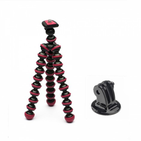 JUSTONE J005-2 Mini Portable Octopus Tripod Mount Holder for GoPro Hero 4/2/3/3 +/SJ4000 Black & Rose Red