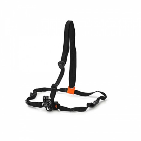 Adjustable Chest Belt + Adapter for Sports Camera AEE Suptig GoPro Hreo 1/2/3/3 + Black & Orange