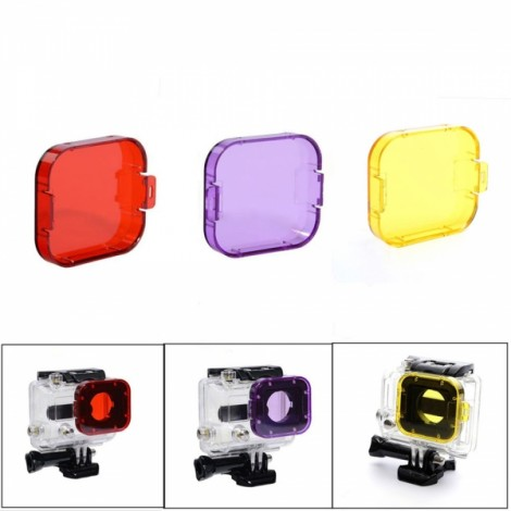 JUSTONE J028-3 3-in-1 Professional Underwater Diving Filter Pack for GoPro Hero 3 Red & Purple & Yellow
