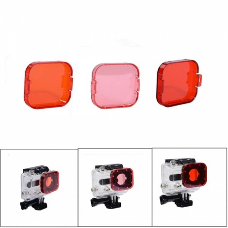 JUSTONE J028-6 3-in-1 Professional Underwater Diving Filter Pack for GoPro Hero 3 Red & Orange & Pink