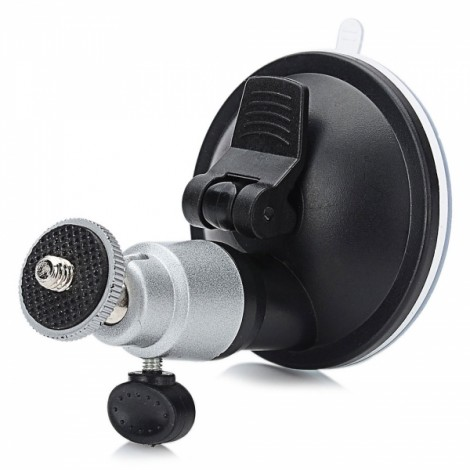 LSON LLH65A-CY 180-Degree Rotatable Aluminum Alloy Car Suction Cup Mount Holder for GPS/DVR/Camera Black & Silver