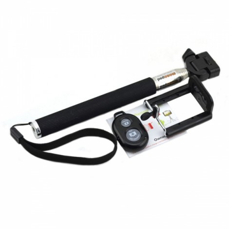 Portable Selfie Stick with Clamp + Bluetooth Remote Shutter Self-timer Black