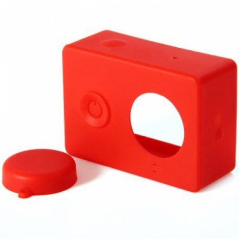 Housing Case Cover + Lens Cap Set for XiaoMi Yi Sports Camera Red