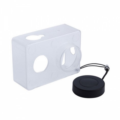 Housing Case Cover + Lens Cap Set for XiaoMi Yi Sports Camera Transparent & Black