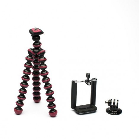 JUSTONE 3-in-1 Mini Octopus Tripod for Camera / Phone / GoPro Hero 4 / 2 / 3 / 3+ / SJ4000 Black & Red