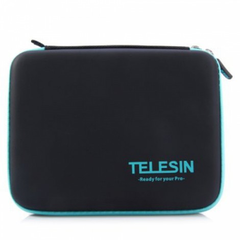 TELESIN Portable PU Carry Case Medium Size Accessory Storage Bag for GoPro 2 / 3 / 4 / SJCAM Xiaomi Yi Action Camera Black & Blue