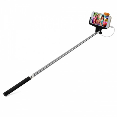 Z07-7 Portable 7-Section Folding 3.5mm Wired Selfie Stick Monopod for iPhone Black