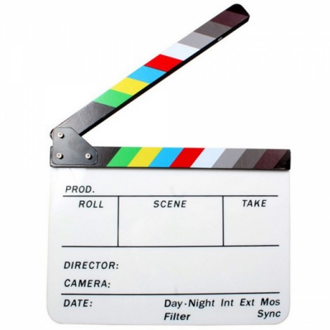 Acrylic Dry Erase Film Movie Director Clapperboard Slate with Colorful Clapstick 9.6 x 11.7""