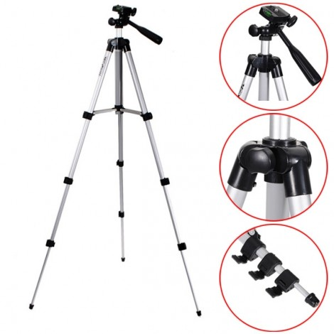 "WT3110A 40"" Aluminum Alloy Tripod Stand for Camera DSLR Camcorder Telescope Black & Silver"