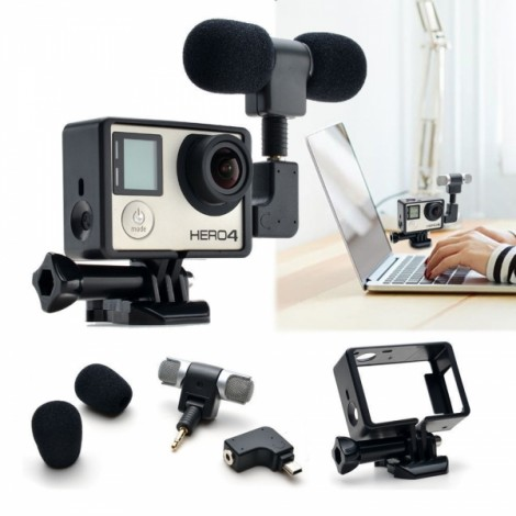 Mini Stereo Microphone + Standard Frame Case for GoPro Hero 4/3+/3 Black & Silver