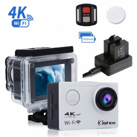 Kshioe 4K WIFI Action Camera 16MP 170 Degree Wide Angle LCD Ultra HD 30M Waterproof Sports DV Camcorder
