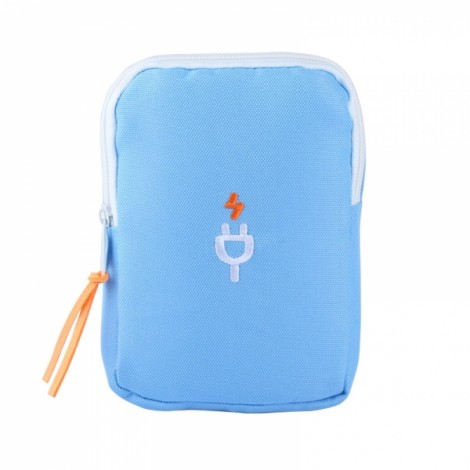 Multifunction Portable Travel Charger Storage Bag Digital Data Cable Storage Pouch Blue