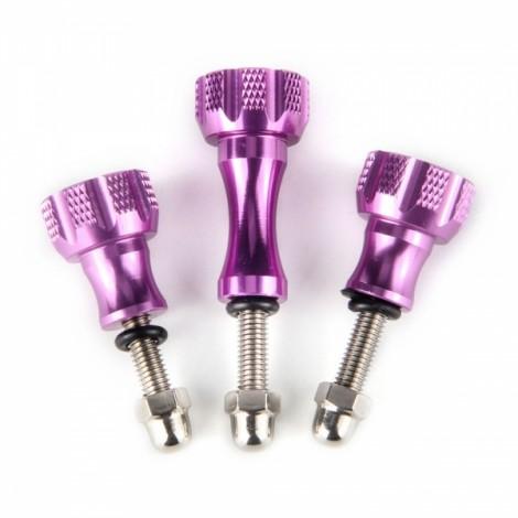 UltraFire Aluminum Thumb Knob Stainless Steel Bolt Screw Kit for Gopro Hero 5/4/3/2/SJ4000 Purple