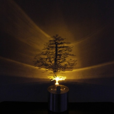 9PIG Creative Pine Tree LED Candle Light Projector Lamp Silver
