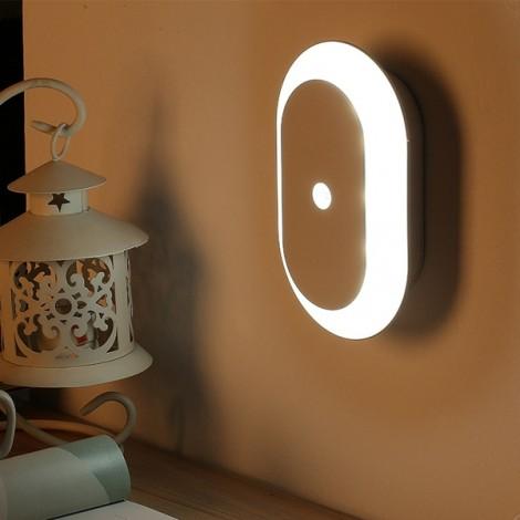 Oval Shape Battery Powered LED Wireless Motion Sensor Night Light for Bedroom Home White
