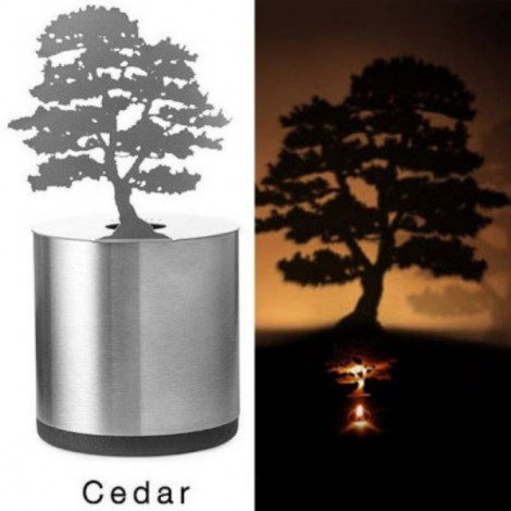 Creative Cedar Pattern LED Shadow Candle Light Projector Lamp Silver