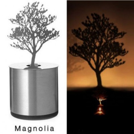 Creative Magnolia Pattern LED Shadow Candle Light Projector Lamp Silver