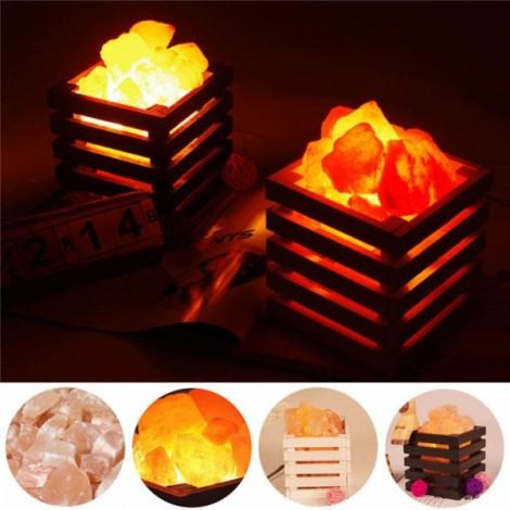 Resin Himalayan Crystal Salt Lamp Bedroom Adornment Square Night Light White US Plug (220V)