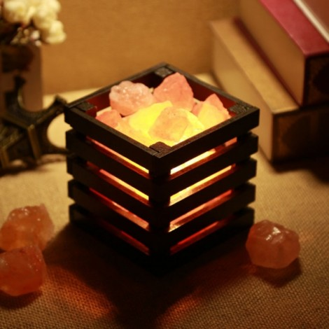 Resin Himalayan Crystal Salt Lamp Bedroom Adornment Square Night Light Black US Plug (220V)