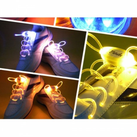 1 Pair LED Flashing Luminous Round Shoelaces Yellow
