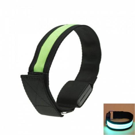 Cool LED Light Fluorescent Night Running Bike Riding Cycling Armband Black & Green