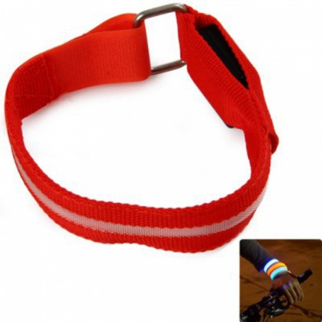 Unisex LED Safety Reflective Armband Flashing Belt Strap Wrist Armband Red