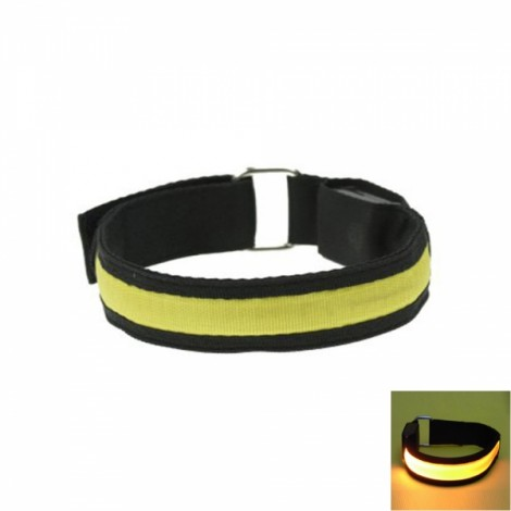 Cool LED Light Fluorescent Night Running Bike Riding Cycling Armband Black & Yellow