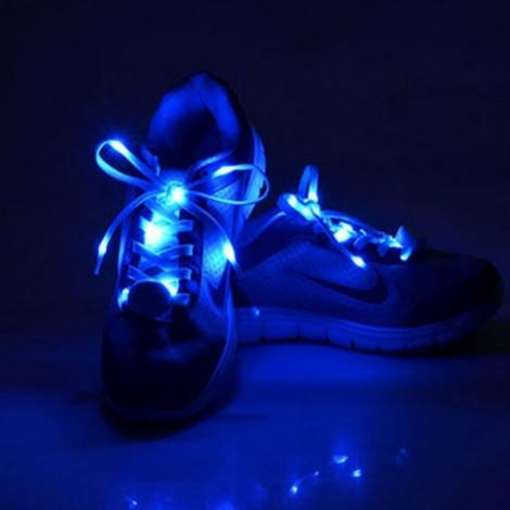 2pcs Nylon LED Shoelaces Flat Luminous Shoelace for Sneakers Blue