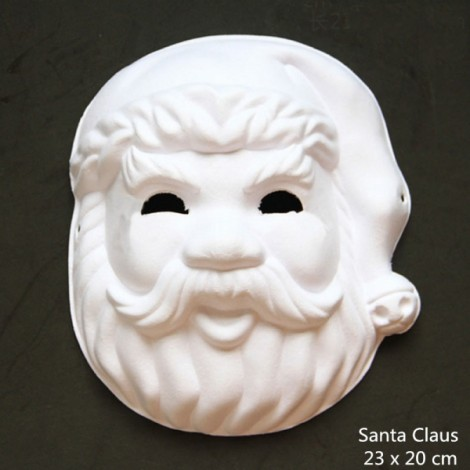 Halloween Cosplay Costume Party Santa Claus Mask Paper Pulp Mask for DIY White