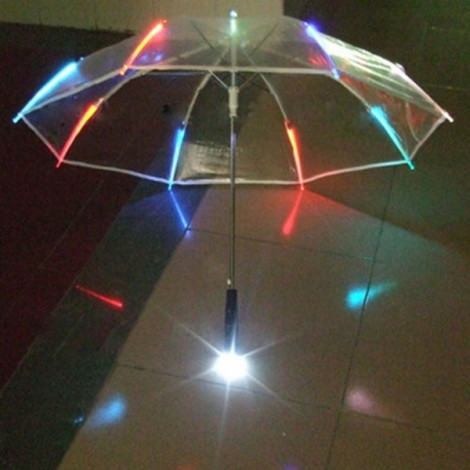 7-Color Changing LED Luminous Umbrella with Flashlight Function Transparent