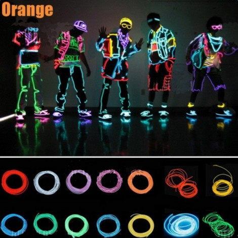 4M Flexible 3-Mode Neon EL Wire Light Dance Party Decor Light Orange