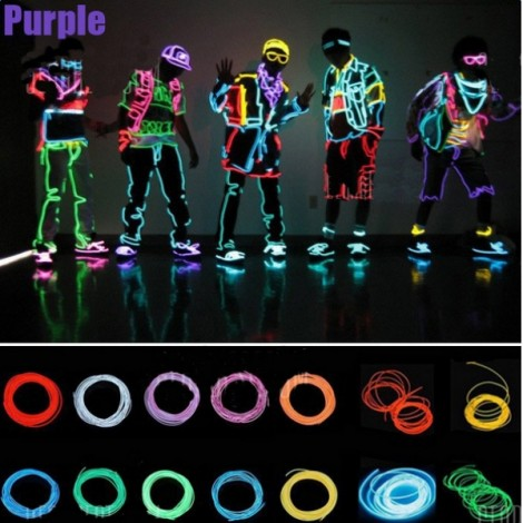 4M Flexible 3-Mode Neon EL Wire Light Dance Party Decor Light Purple