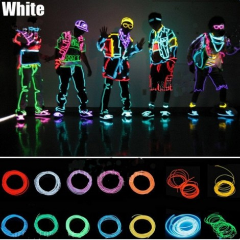 3M Flexible Neon EL Wire Light Dance Party Decor Light White