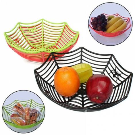 Plastic Spider Web Fruit Candy Basket Bowl Halloween Party Decor Black