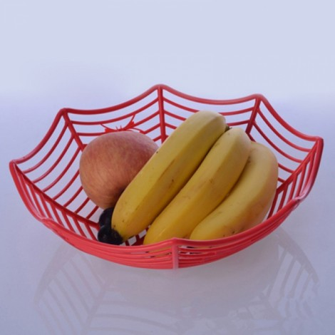 Plastic Spider Web Fruit Candy Basket Bowl Halloween Party Decor Red