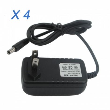 4pcs Surveillance Security Cameras Power Adaptor 12V 1000mA