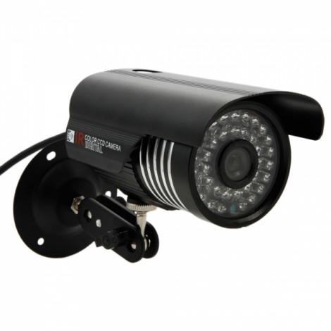 "1/4"" CMOS 1000TVL 6mm 36-LED NTSC IR-CUT Bullet Security Camera Black"
