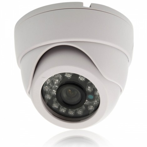 "1/4"" CMOS 1000TVL 3.6mm 24-LED IR-CUT CCTV Security Dome Camera PAL White (UK Plug)"