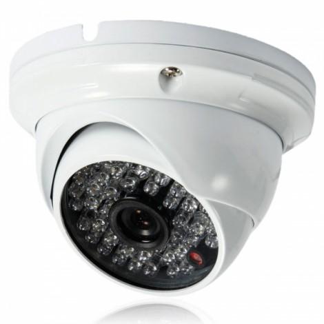 "1/4"" CMOS 48LED 1000TVL PAL 3.6mm Large Metal Surveillance Dome Camera White (UK Plug)"