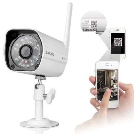 Zmodo ZP-IBH13-W 720P Color Sensor 80ft IR Night Vision IR-CUT Wi-Fi Outdoor Waterproof Wireless IP Camera White