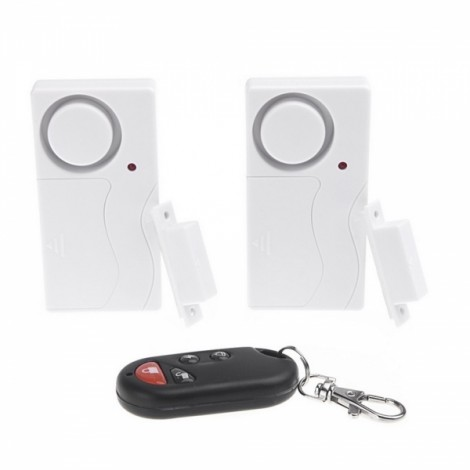 Wireless Remote Control Home Security Entry Alarm Warning System with Magnetic Sensor for Door Window White