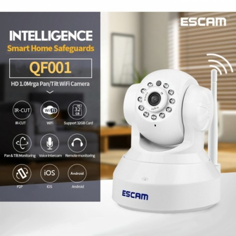 ESCAM QF001 720P IR Night Vision IR-Cut 1.0Mrga WiFi IP Camera Pan Tilt Security Camera UK Plug White