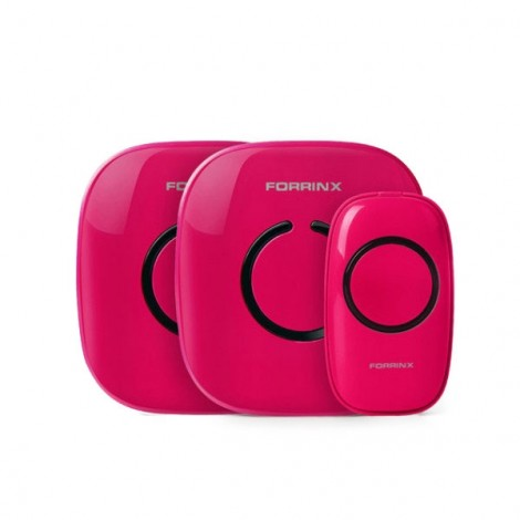 Forrinx 1+2 Smart Digital AC Wireless Remote Control Home Office Doorbell Ring Rose Red
