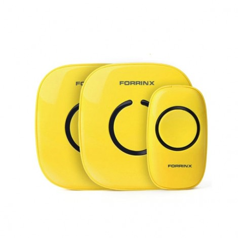 Forrinx 1+2 Smart Digital AC Wireless Remote Control Home Office Doorbell Ring Yellow